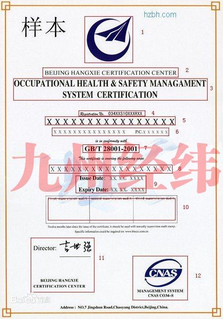 GB/T28001职业健康安全管理体系